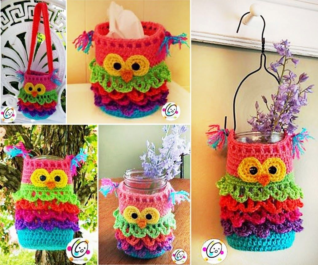 How To Make An Owl Crochet For Any Mason Jar Pictures