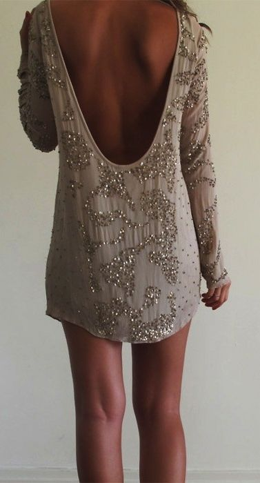 Short Longsleeve Sequined Low Back Party Dress Pictures