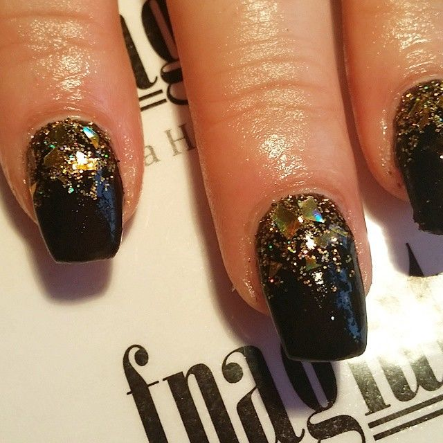 Black And Gold Glitter Gel Nails