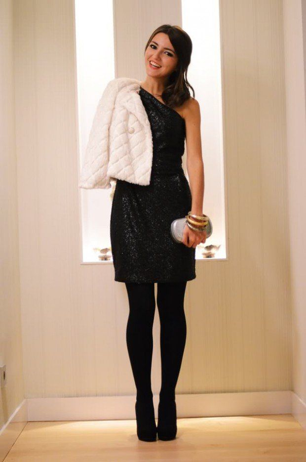 Off Shoulder Black Glitter Dress With Short White Jacket Pictures