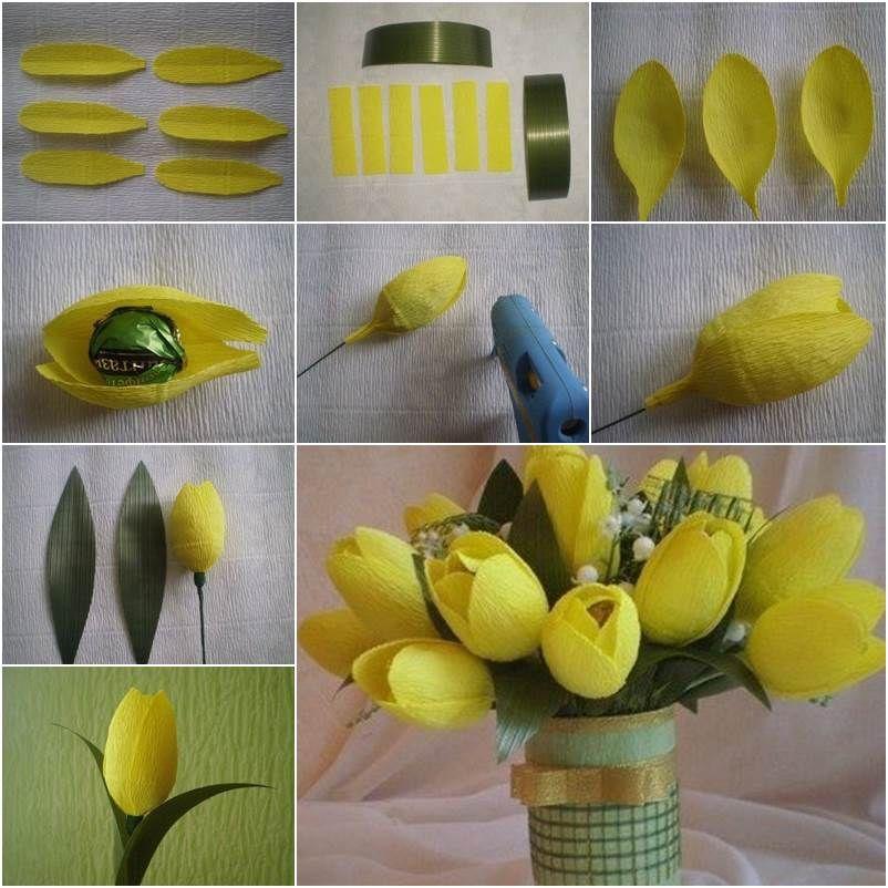 Тюльпаны с конфетами своими руками из бумаги