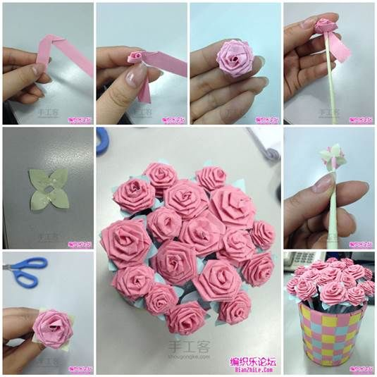 How to make an origami rose bouquet pictures photos and for How to make a paper rose origami