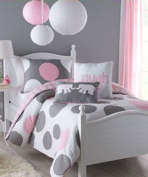 Awesome Pink And Gray Girls Bedroom