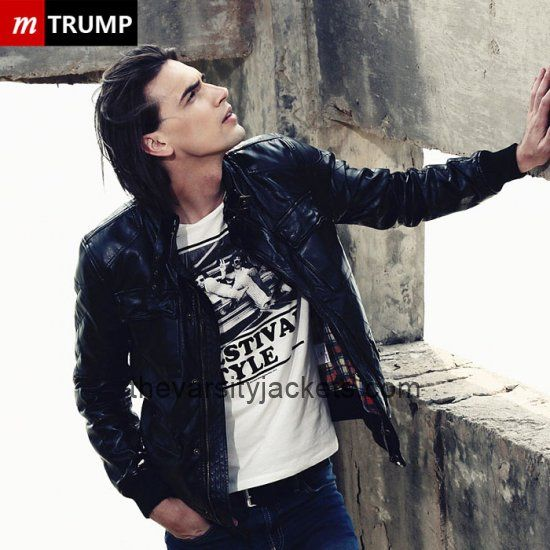 2015 Mens Locomotive Slim Collar PU Leather Jacket Black Cheap