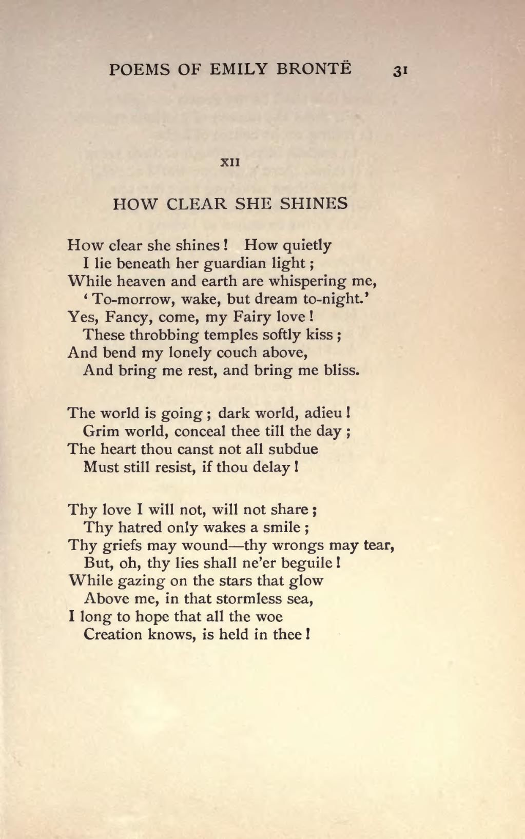 How Clear She Shines Emily Bronte Pictures Photos And Images For