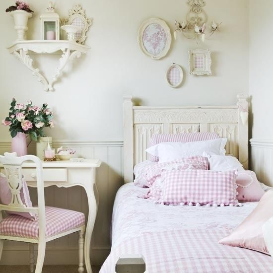 French Bedroom Black And White Teenage Bedroom Wallpaper Uk Wooden Bedroom Blinds Bedroom Oasis Decorating Ideas: Young Girl's Vintage White & Pink Bedroom Pictures, Photos