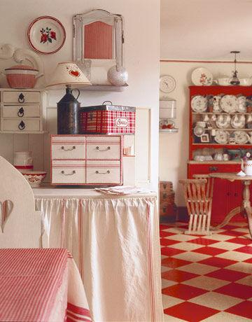 Red White Vintage Kitchen