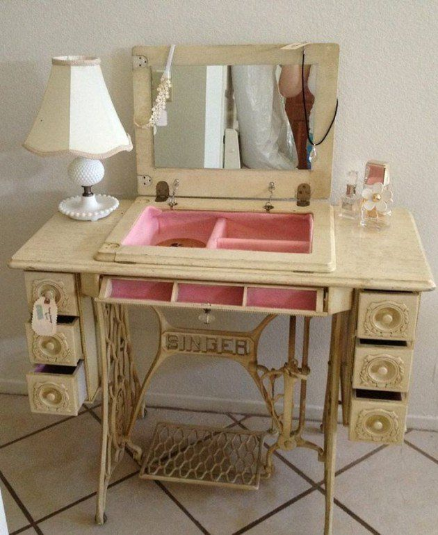 Vintage Sewing Machine Cabinet Repurposed Into A Pretty Vanity ...