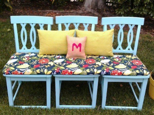 Repurpose 3 Kitchen Chairs into an indoor/outdoor bench & Repurpose 3 Kitchen Chairs Into An Indoor/outdoor Bench Pictures ...
