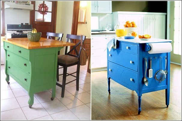 Dressers Repurposed As Kitchen Islands Or Tea Carts