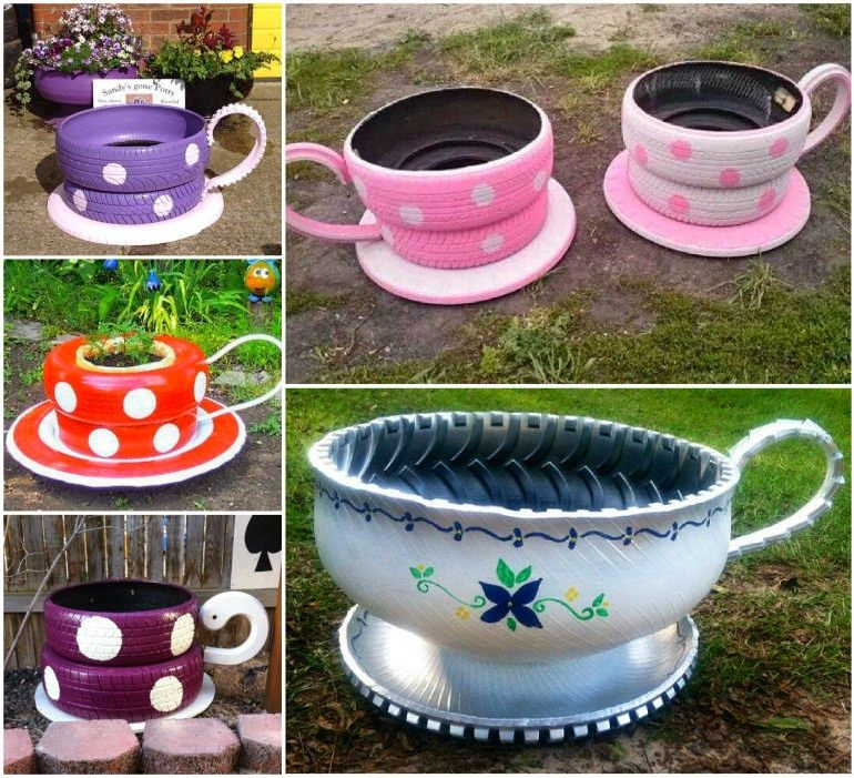 How to make teacup tyre planters pictures photos and - Material para jardin ...