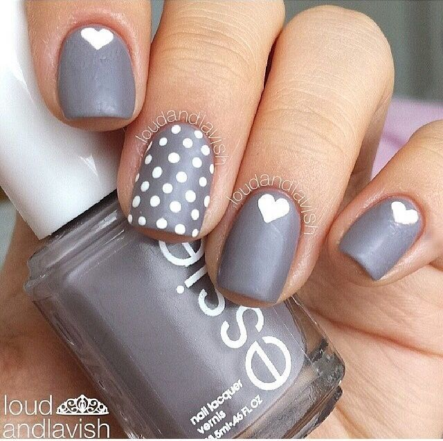 Gray heart and polka dot nails pictures photos and images for gray heart and polka dot nails sciox Images
