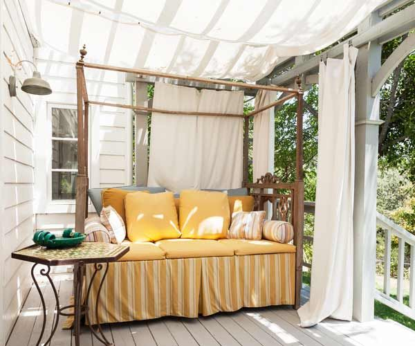 Cotton Canvas As A Temporary Roof For Outdoor Porch