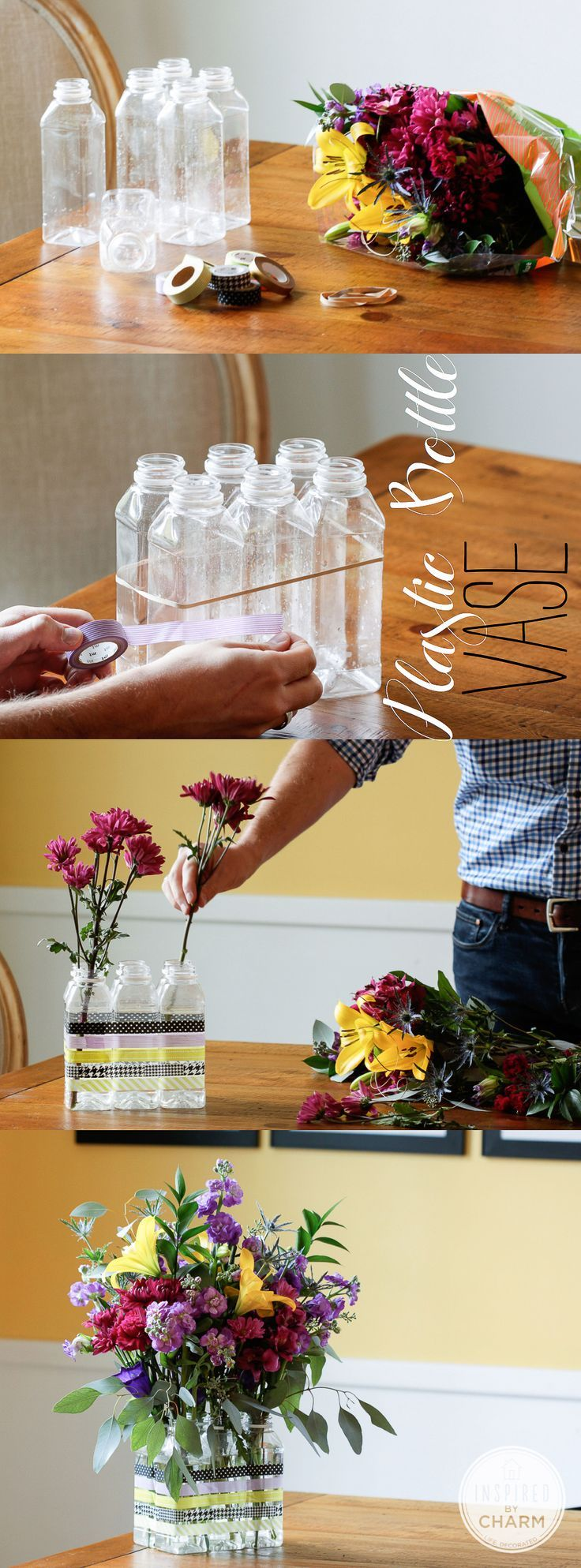 Diy plastic bottle flower vase pictures photos and for Plastic bottle vase craft