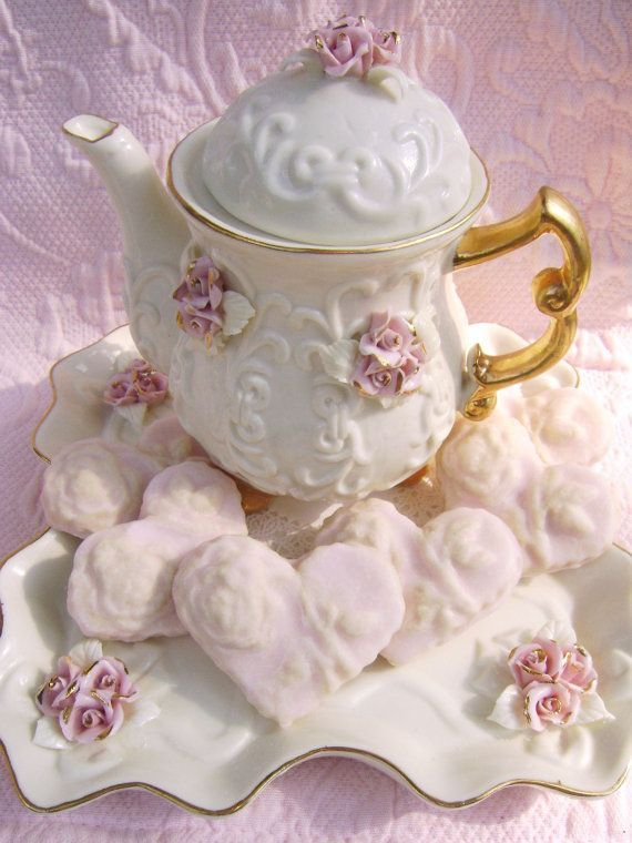 Pretty Teapot And Pink Heart Shaped Sugar Rose Cookies