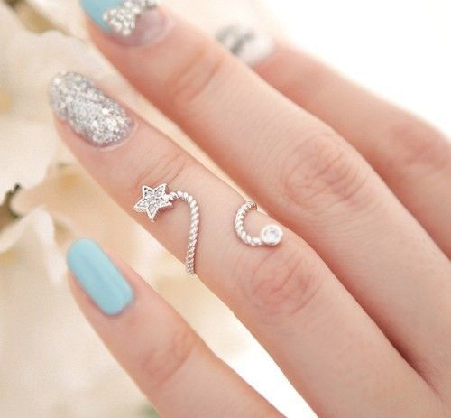 Pretty Turquoise And Silver Nail Art Amp Ring Pictures