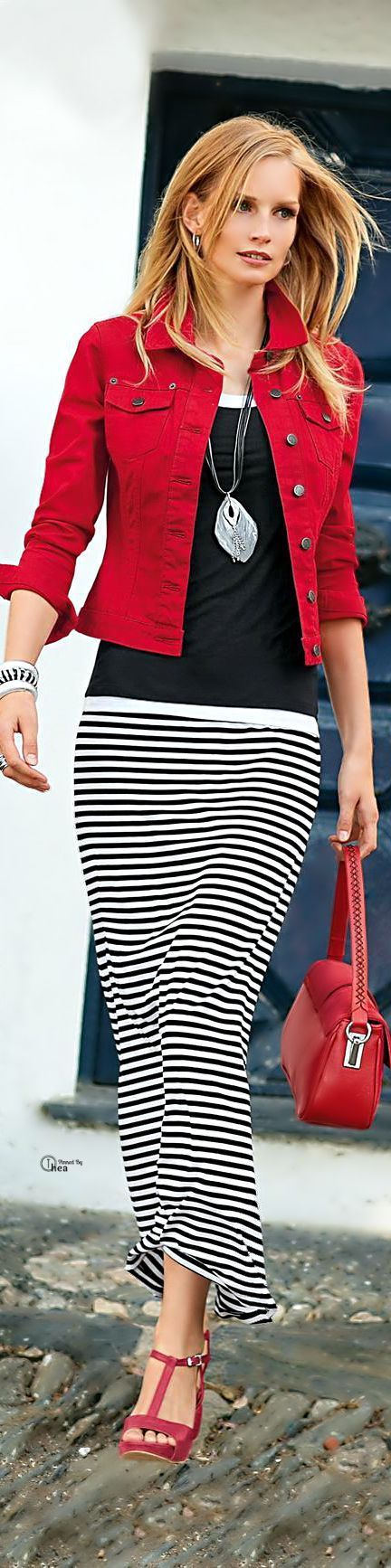Black & White Striped Maxi Skirt With Red Accents Pictures, Photos ...