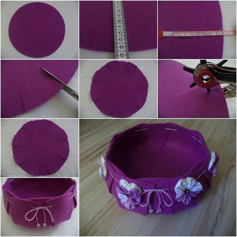How to make a pretty felt basket pictures photos and for Manualidades para decorar el hogar