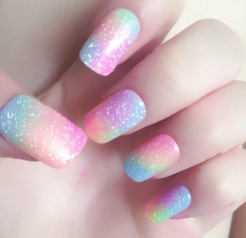 Glitter Colorful Pastel Nails