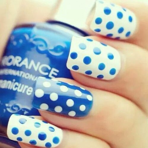 Blue and white polkadot nails pictures photos and images for blue and white polkadot nails sciox Image collections