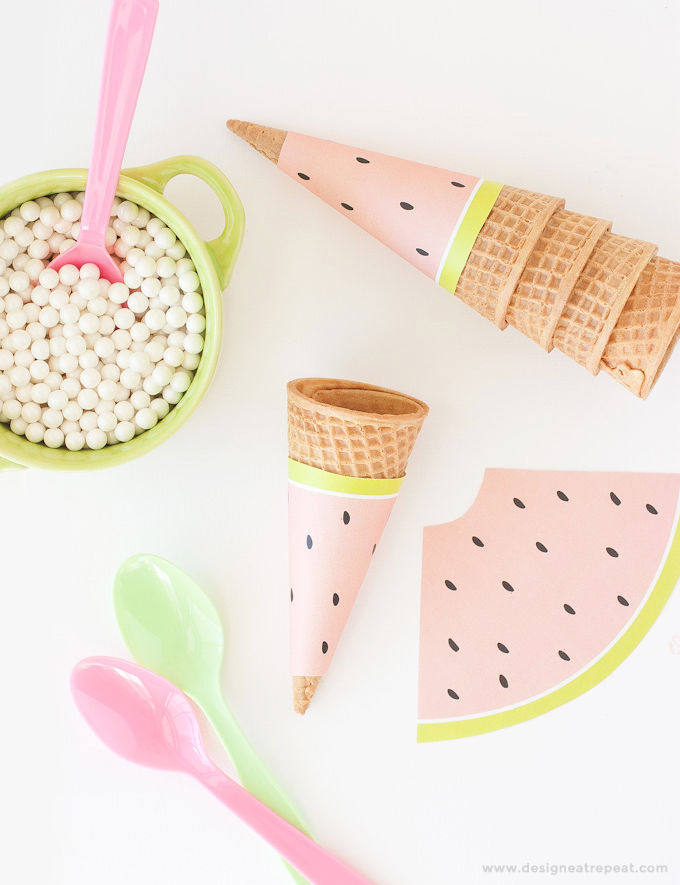 image about Ice Cream Cone Printable referred to as How Towards Produce A Printable Watermelon Ice Product Cone Wrappers
