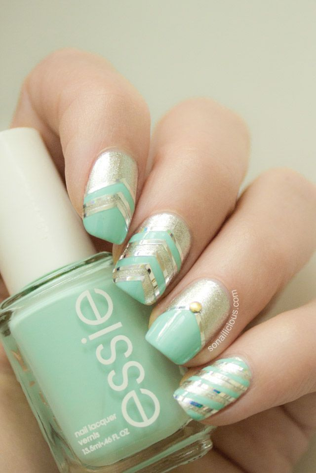 Mint Green Amp Gold Glitter Nails Pictures Photos And Images For Facebook Tumblr Pinterest