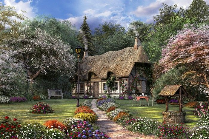 Thomas kinkade painting of victorian english cottage for Jardin hansen