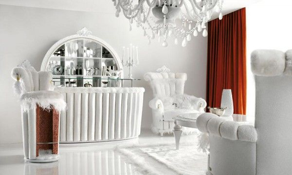 Luxurious All White In Home Cocktail Bar Pictures Photos