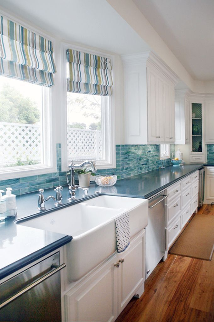 Double sink turquoise kitchen pictures photos and images for Beach kitchen backsplash ideas