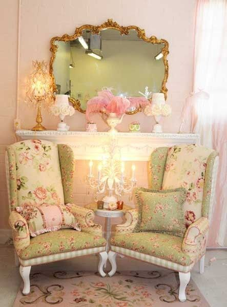 Pretty Arm Chairs In Front Of Fireplace
