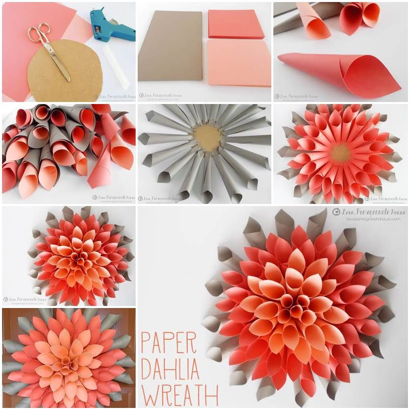 Diy dahlia wreath pictures photos and images for for Creative craft ideas with paper