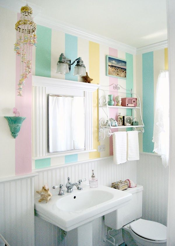 Cute pastel striped bathroom pictures photos and images for Pretty small bathroom ideas
