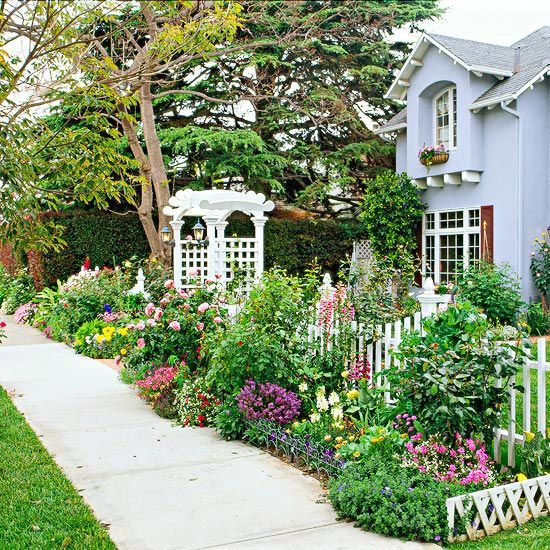 Front Sidewalk Garden For Curb Appeal Pictures, Photos