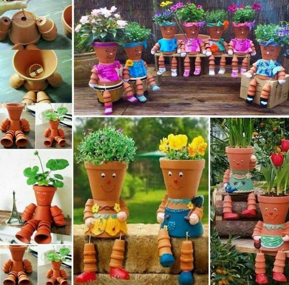 Diy flower pot people pictures photos and images for for How to make clay pot people