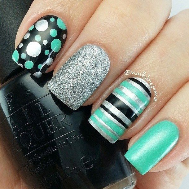 Teal And Black Nails Pictures Photos And Images For Facebook