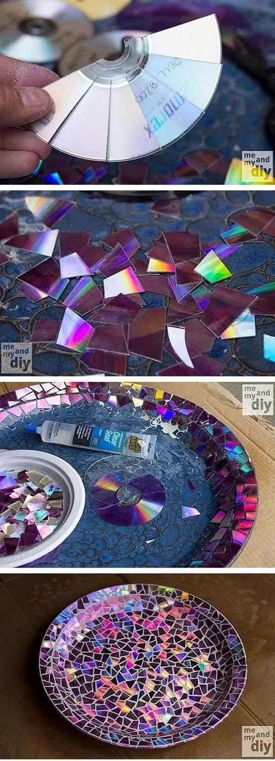 diy mosaic bird bath from old cds pictures  photos  and