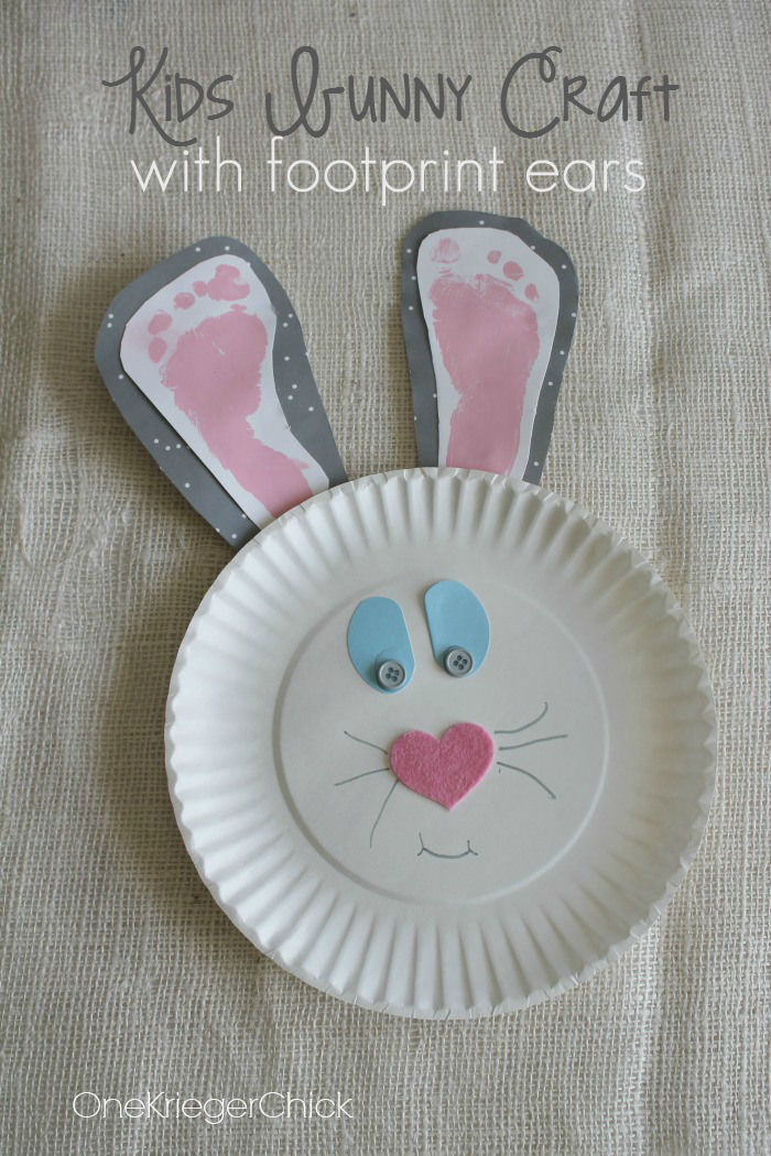 Paper Plate Bunny With Kids Foot Ears & Paper Plate Bunny With Kids Foot Ears Pictures Photos and Images ...