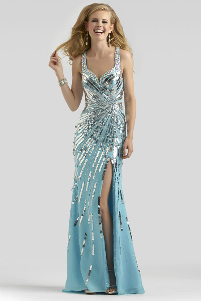 Glamorous Turquoise Gown With Silver Sequins Pictures