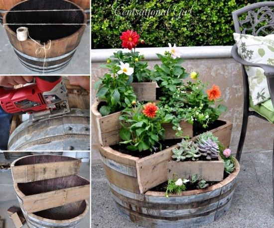 Diy wine barrel planter pictures photos and images for for Diy wine barrel planter