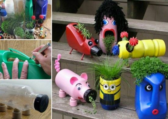 Diy upcycled planters pictures photos and images for for Recycling of waste material at home