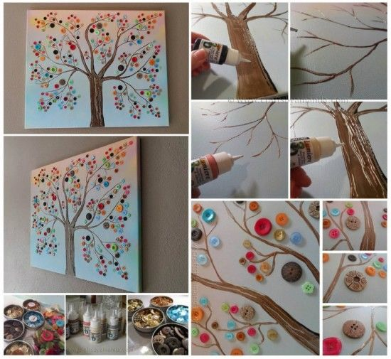 DIY Button Tree Wall Art s and for