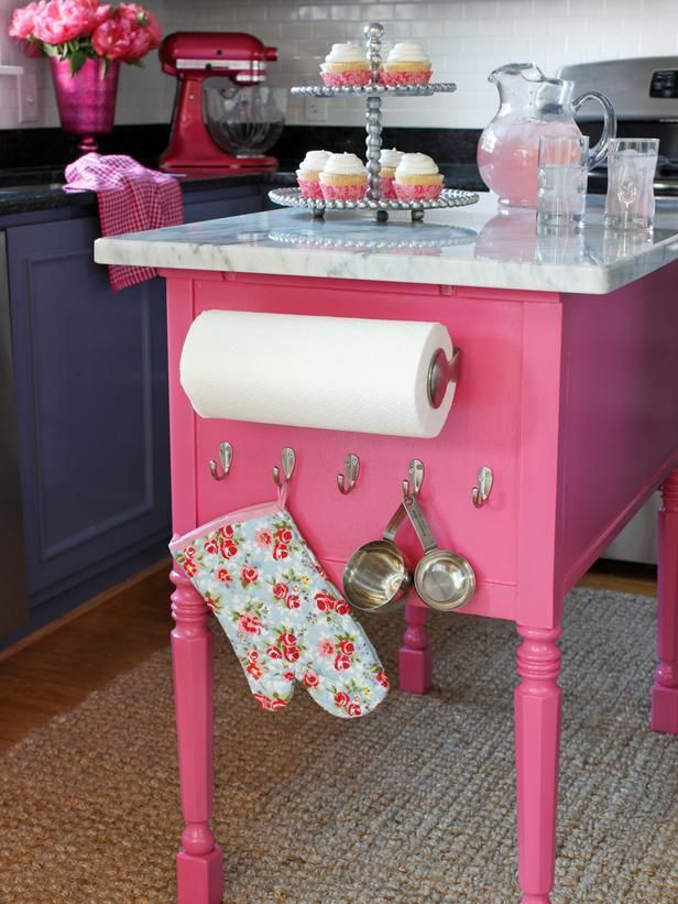 a table repurposed into a bubblegum pink kitchen island pictures