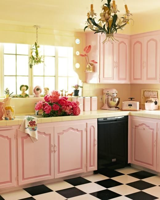 Beautiful Country Kitchen Pictures Photos And Images For Facebook Tumblr Pinterest And Twitter: Beautiful Pink Kitchen With Black & White Checkered