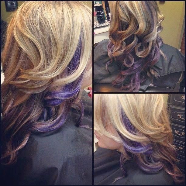 Curly Blonde Hair With Purple Peek A Boo Highlights Pictures Photos