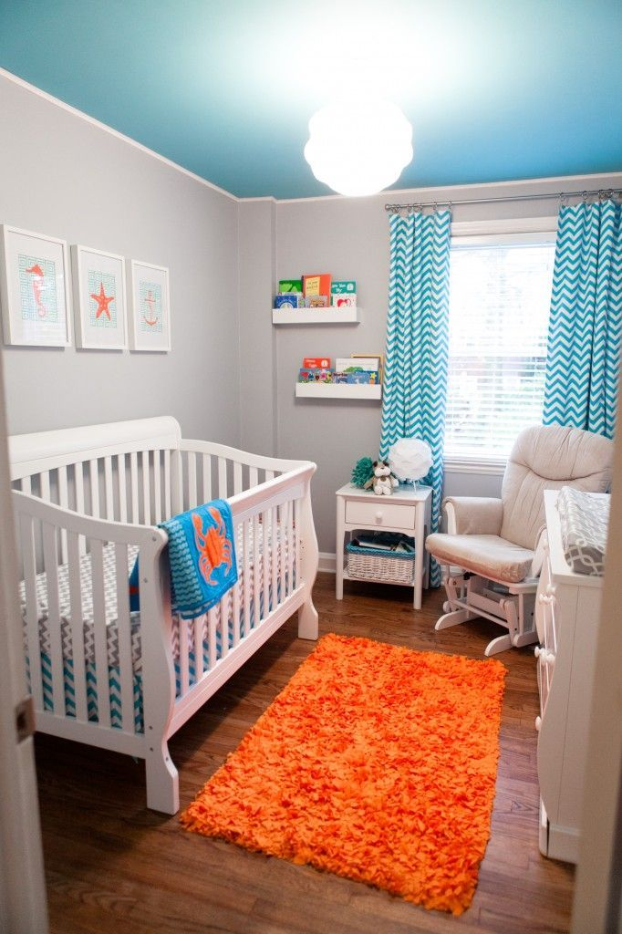 Turquoise Grey And Orange Baby Bos Room