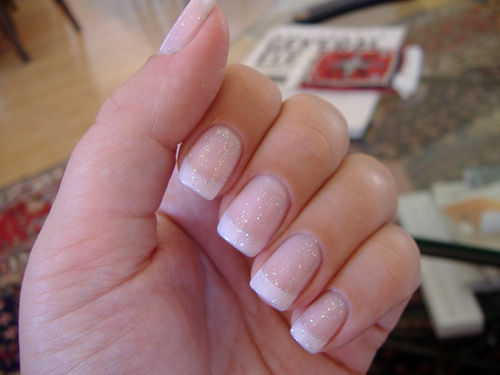 French Manicure Glitter Nails