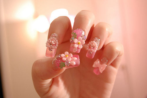 Pretty Pink 3d Embellish Nails Pictures Photos And