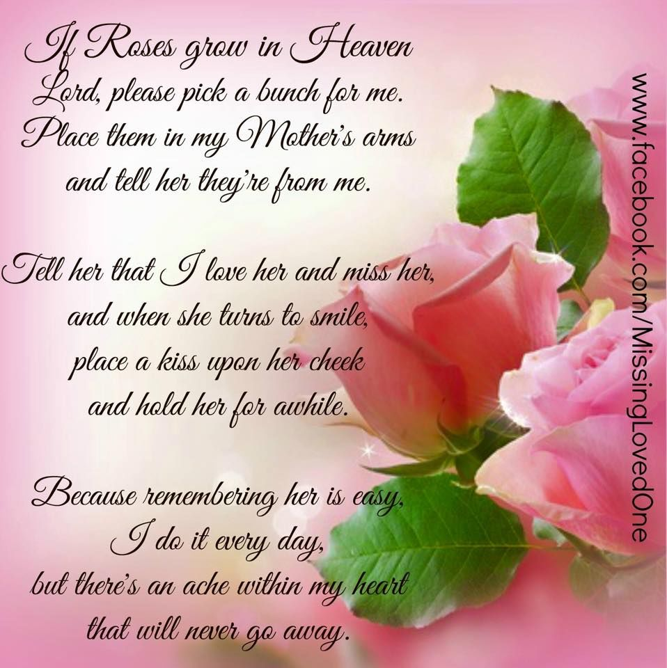 Missing My Mom In Heaven Quotes If Roses Grow In Heaven Pictures Photos And Images For Facebook