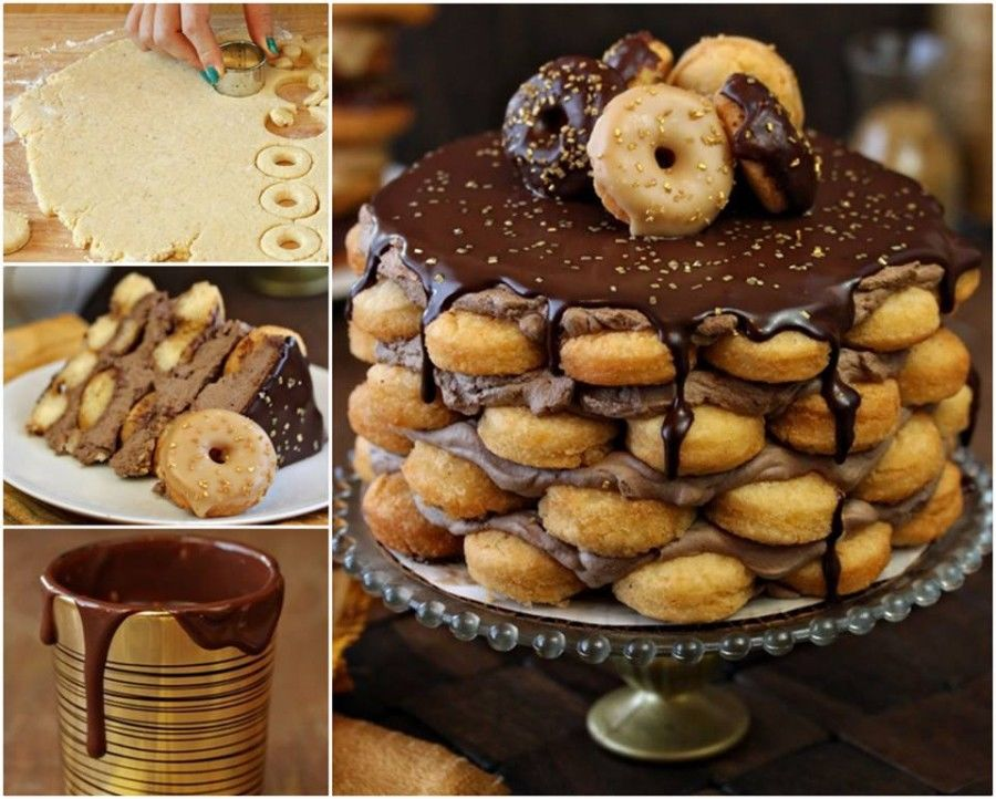 Food Tutorial Showing How To Make A Doughnut Cake Pictures