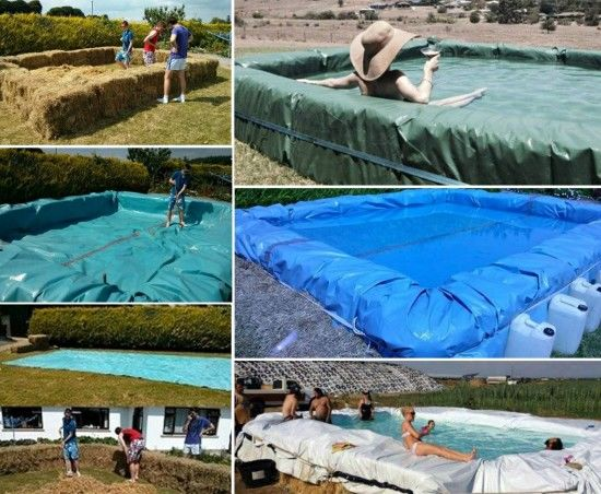 DIY Tutorial Showing How To Make A Hay Bale Swimming Pool ...